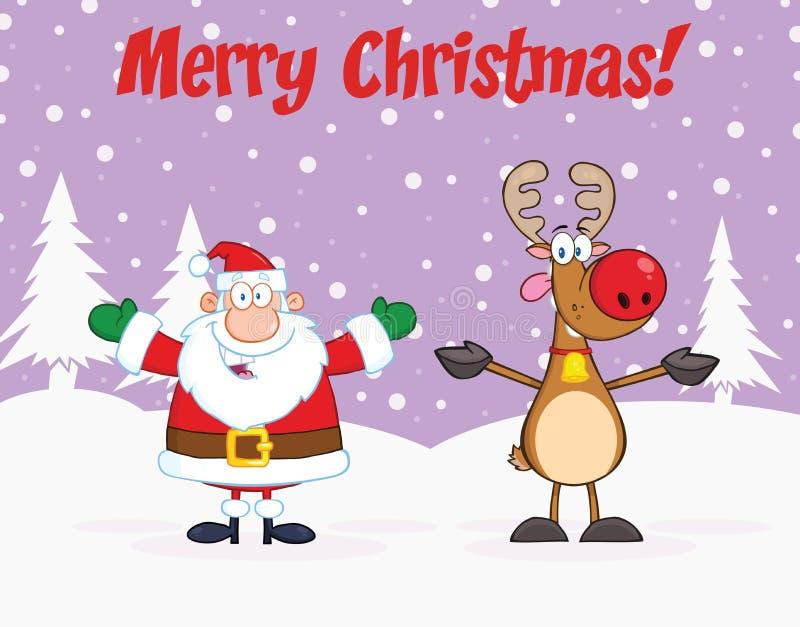 Buon Natale che accoglie con Santa Claus And Reindeer illustrazione di stock