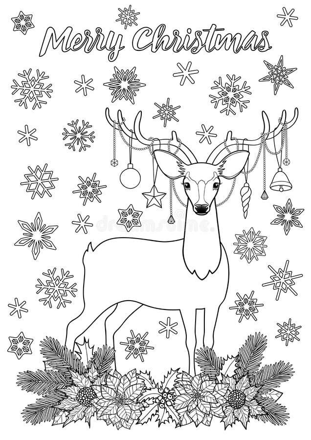 Buon Natale che accoglie pagina di coloritura con i cervi illustrazione vettoriale