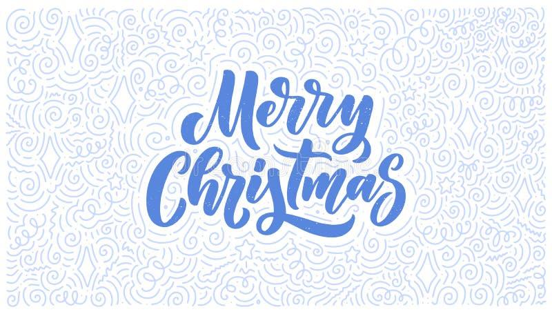 Buon Natale che segna a disposizione stile con lettere tirato Retro simbolo classico Cartolina d'auguri di festa del nuovo anno D immagini stock
