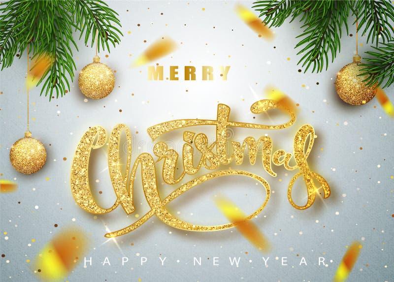 Buon Natale che segna la cartolina d'auguri con lettere per la festa Coriandoli dorati Calligrafia che segna nuovo anno con lette illustrazione di stock