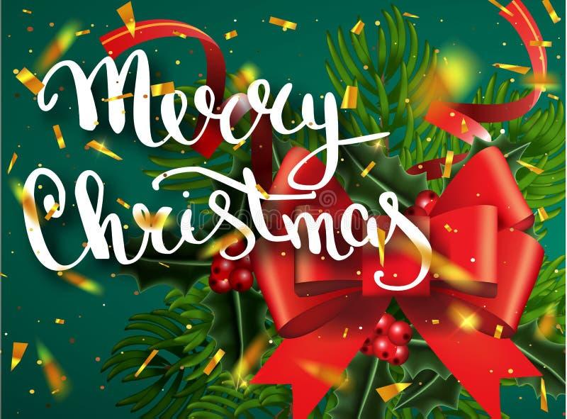 Buon Natale che segna la cartolina d'auguri con lettere per la festa Splendere dell'oro Ornamento della decorazione con con il mo royalty illustrazione gratis