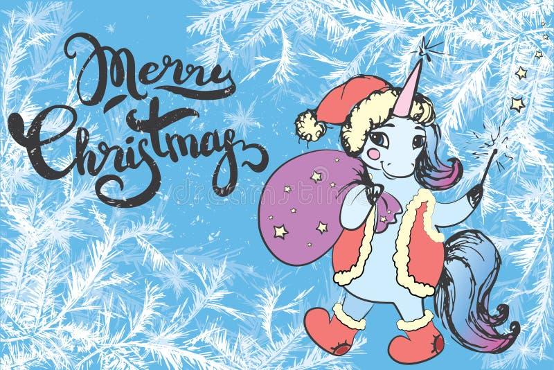 Buon Natale che segna sul fondo del gelo e sul natale sveglio unic illustrazione vettoriale