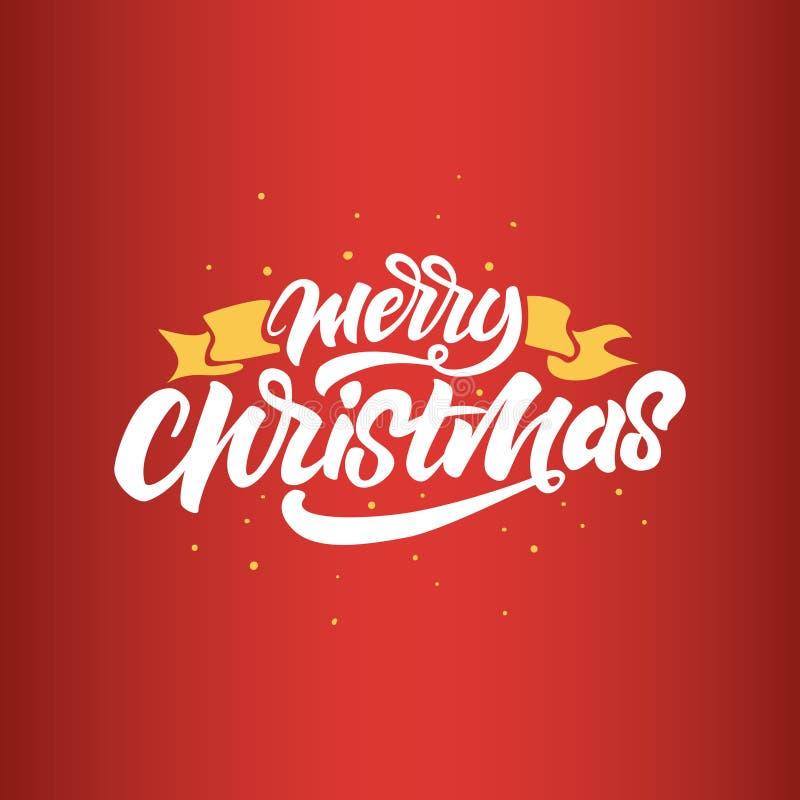 Buon Natale che segna sul fondo rosso per la cartolina, il manifesto, il regalo e la maglietta Vettore illustrazione di stock