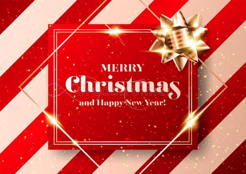 Buon Natale Chic Vector Sfondo Invito festivo 2020 per Natale rosso e oro, volantino, carta, poster, modello di copertura lusso illustrazione di stock
