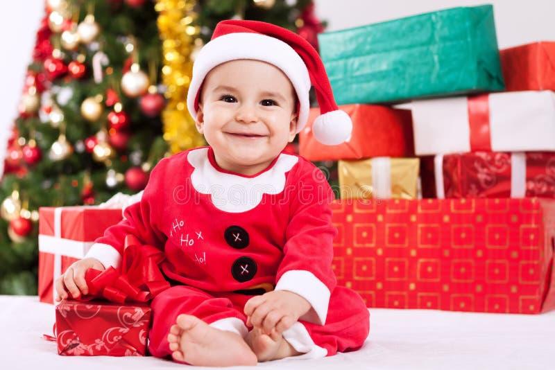 Buon Natale con il bambino il piccolo Babbo Natale immagine stock