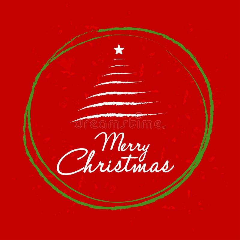 Buon Natale con l'albero di Natale nel telaio della palla, saluto rosso illustrazione di stock