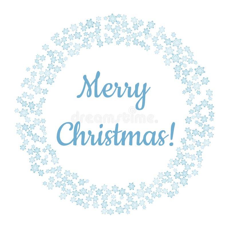 Buon Natale in corona di inverno dei fiocchi di neve Ornamento del cerchio per le cartoline del nuovo anno e di Natale royalty illustrazione gratis