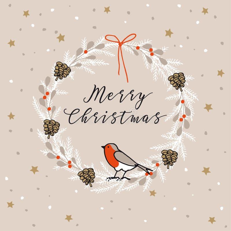 Buon Natale d'annata, cartolina d'auguri del buon anno, invito Corona fatta dei rami sempreverdi, bacche, uccello del fringillide royalty illustrazione gratis