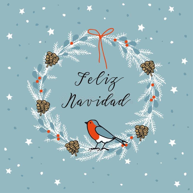 Buon Natale d'annata, cartolina d'auguri di Feliz Navidad dello Spagnolo, invito Corona fatta dei rami sempreverdi, bacche Vettor illustrazione di stock