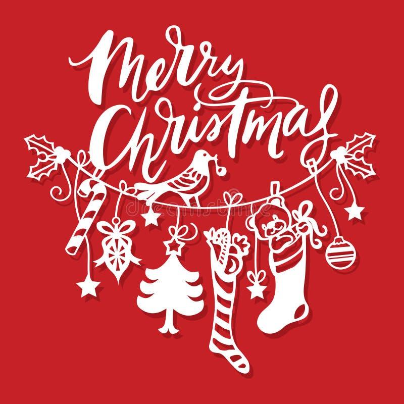 Buon Natale d'annata che appende linea taglio della carta delle decorazioni royalty illustrazione gratis