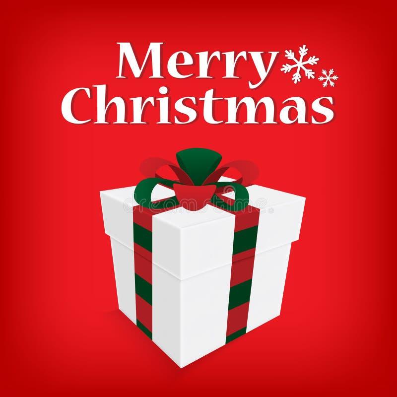 Buon Natale d'annata della cartolina d'auguri che segna con il contenitore di regalo royalty illustrazione gratis