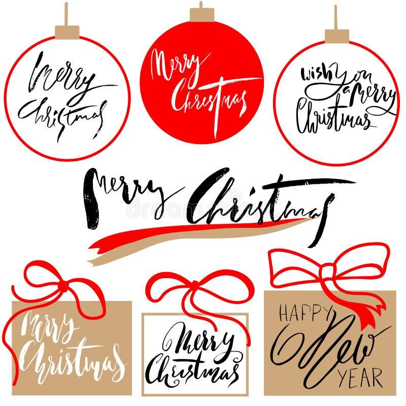 Buon Natale d'annata ed insieme di etichette calligrafico del buon anno e tipografico disegnato a mano Elementi delle decorazioni illustrazione vettoriale