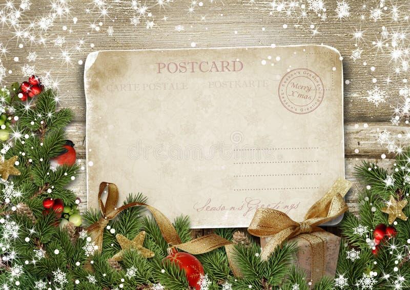 Buon Natale della cartolina d'auguri con le decorazioni e il postc d'annata immagine stock libera da diritti