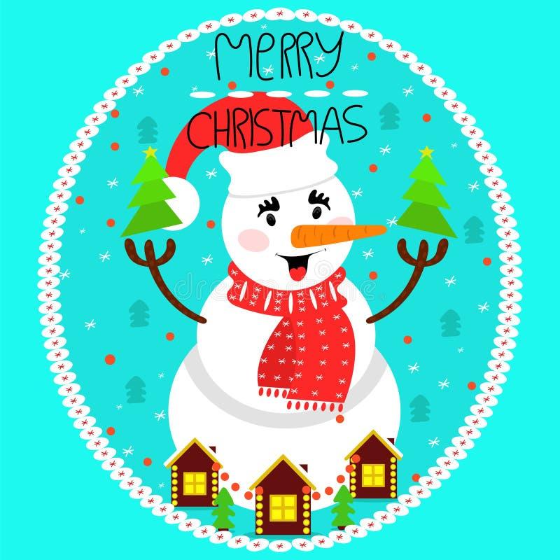 Buon Natale della cartolina d'auguri Pupazzo di neve nel cappuccio e nella cicatrice di Natale illustrazione di stock