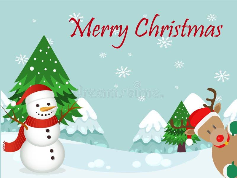Buon Natale della cartolina di Natale con il pupazzo di neve fotografia stock libera da diritti