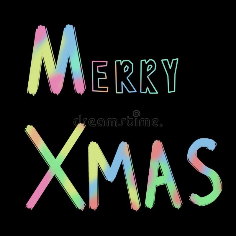 Buon Natale, distintivo di natale con iscrizione scritta a mano, calligrafia con fondo scuro per il logo, insegne, etichette, car immagine stock