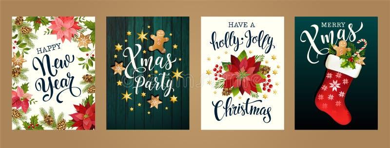 Buon Natale e buon anno colori bianchi e neri di 2019 Progetti per il manifesto, la carta, l'invito, la carta, l'aletta di filato royalty illustrazione gratis