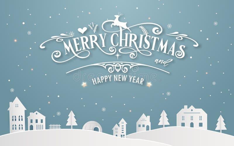 Buon Natale e buon anno di città natale nevosa con colore pastello blu di inverno del fondo del messaggio della fonte di tipograf royalty illustrazione gratis