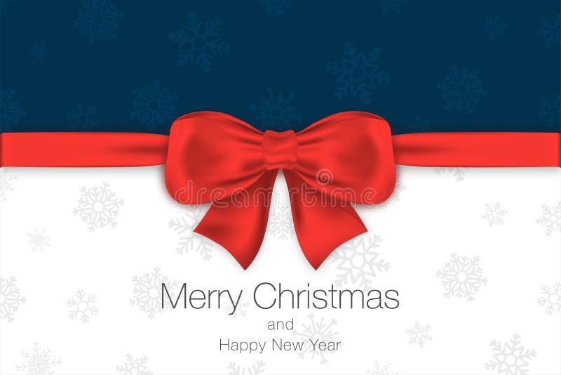 Buon Natale e buon anno Fondo blu e bianco con l'arco ed i fiocchi di neve rossi Modello della cartolina d'auguri illustrazione di stock