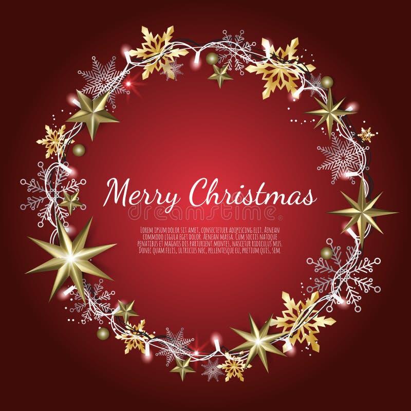 Buon Natale e buon anno Fondo di natale con oro brillante ed i fiocchi di neve d'argento Cartolina d'auguri, festa illustrazione vettoriale
