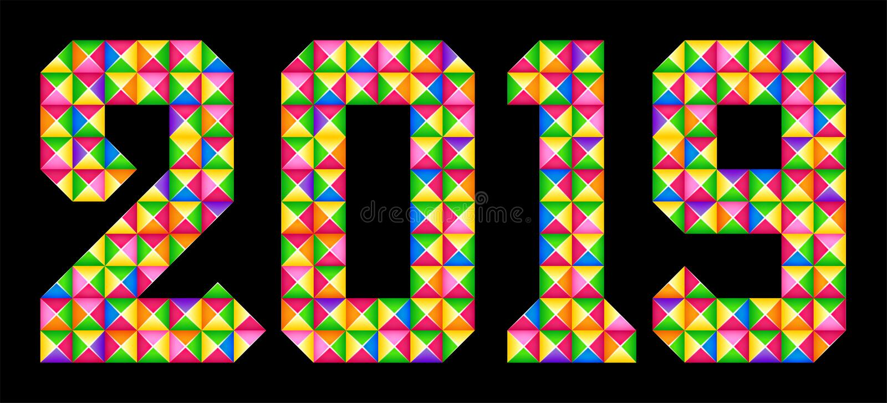 Buon Natale e buon anno Il mosaico variopinto geometrico numera 2019 royalty illustrazione gratis