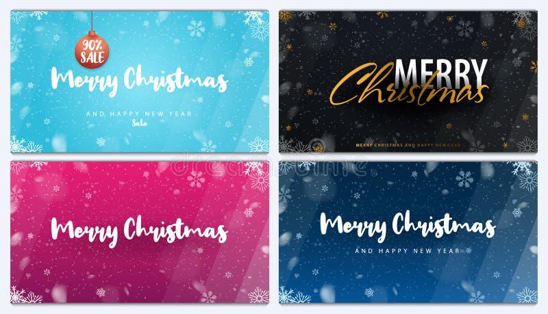 Buon Natale e buon anno Insieme degli ambiti di provenienza con i fiocchi di neve Illustrazione di vettore illustrazione vettoriale