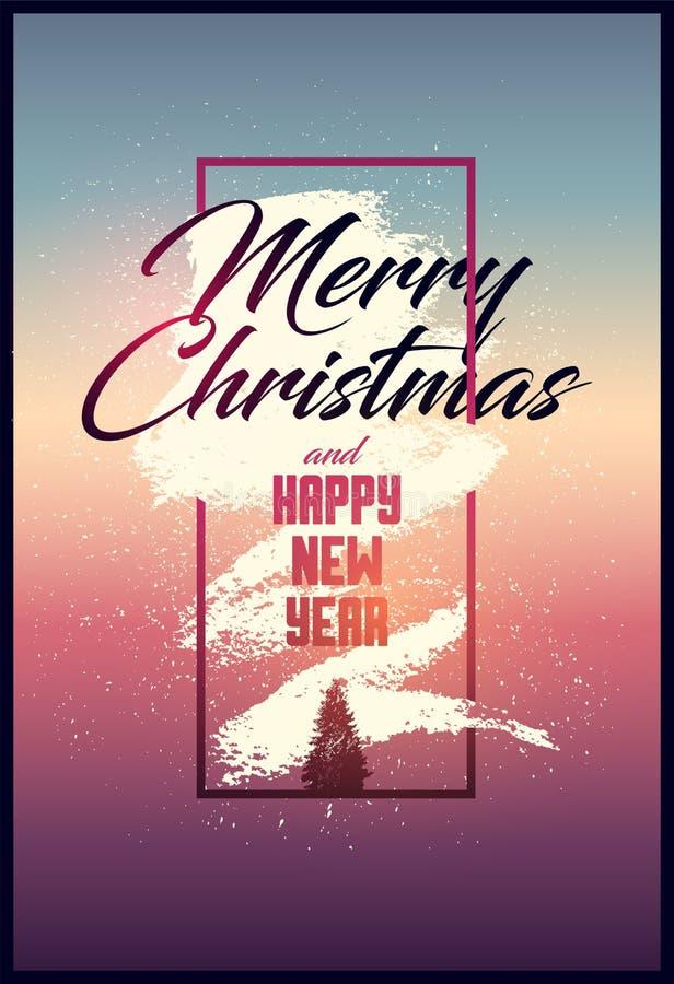 Buon Natale e buon anno Progettazione calligrafica della cartolina d'auguri di Natale Manifesto d'annata tipografico di lerciume  royalty illustrazione gratis