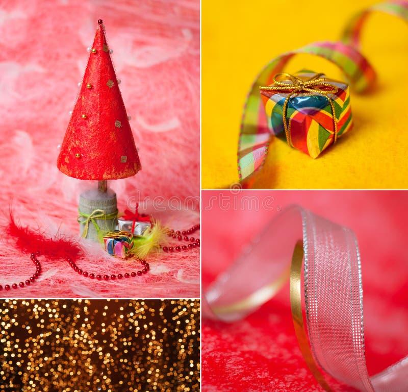 Buon Natale e buon anno, cartolina d'auguri del collage fotografia stock