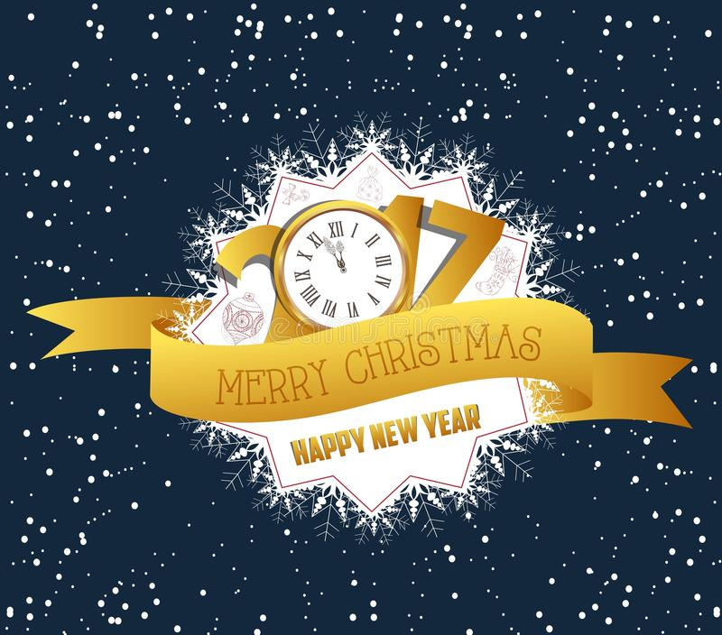 Buon Natale e buon anno 2017 con l'orologio illustrazione di stock