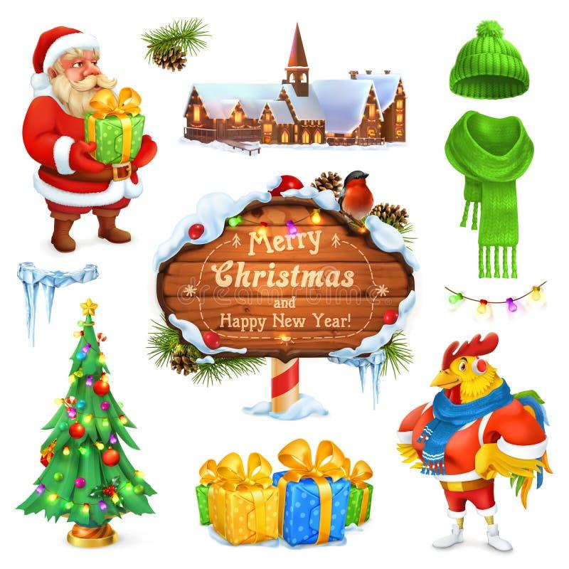 Buon Natale e buon anno Il Babbo Natale _2 Albero di Natale Segno di legno Contenitore di regalo Cappello lavorato a maglia inver illustrazione di stock