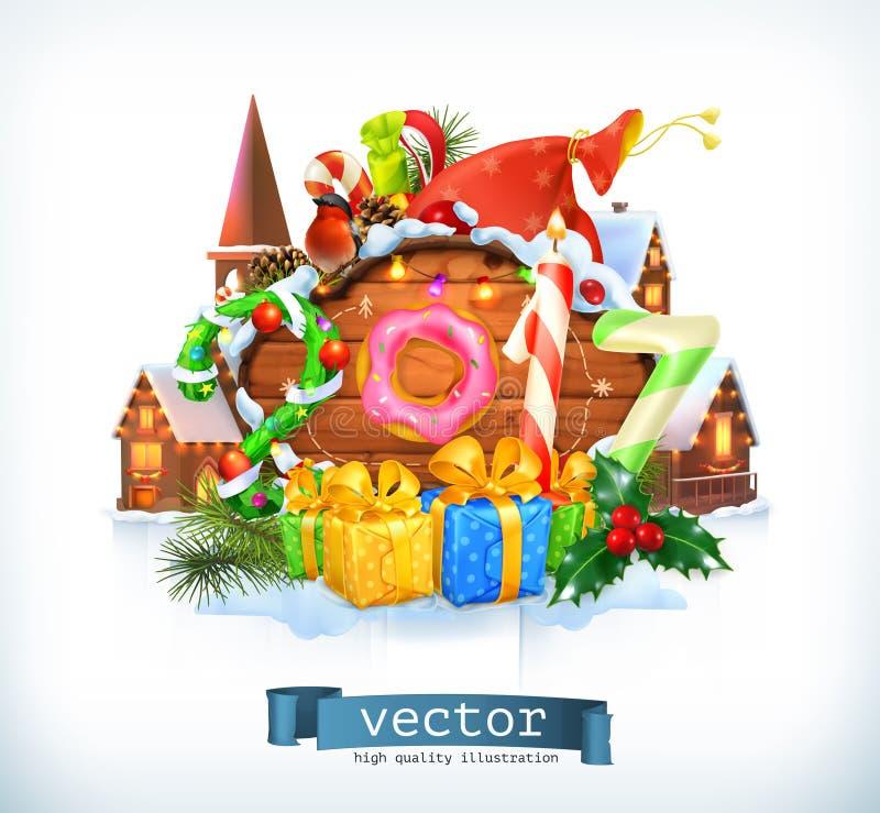 Buon Natale e buon anno 2017 Innesta l'icona royalty illustrazione gratis