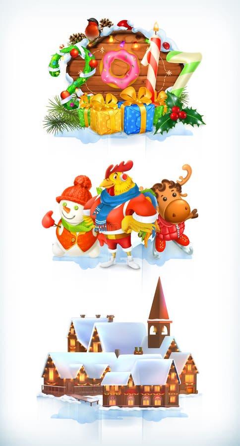 Buon Natale e buon anno 2017 Insieme dell'icona di vettore illustrazione vettoriale