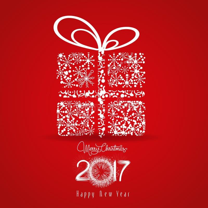 Buon Natale e buon anno 2017 Regalo dei fiocchi di neve royalty illustrazione gratis