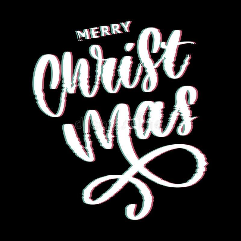 Buon Natale e buoni anni 2019, cartolina d'auguri creativa o etichetta con il tema di impulso errato su progettazione nera di vet illustrazione vettoriale