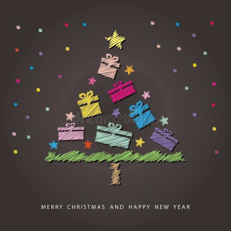 Buon Natale e carta del buon anno Albero di Natale disegnato con i pastelli variopinti sulla lavagna illustrazione vettoriale