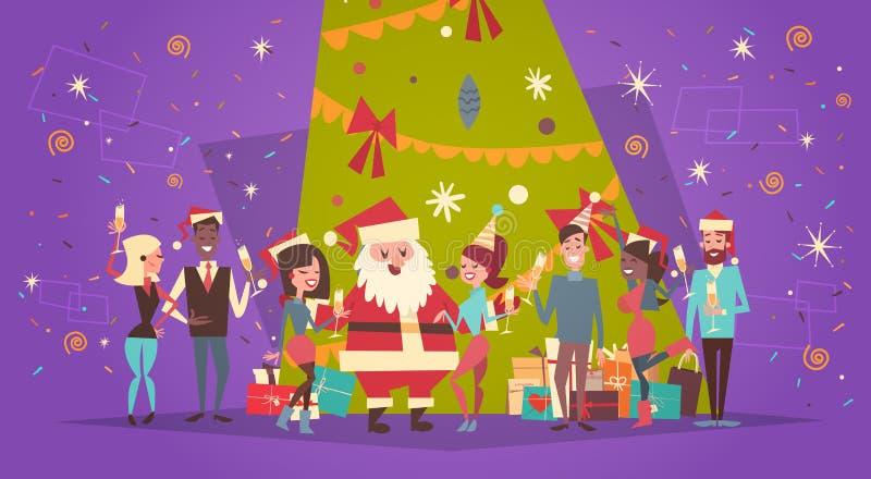 Buon Natale e cartolina d'auguri del buon anno con Santa Claus And Group Of People sopra il pino di festa illustrazione vettoriale