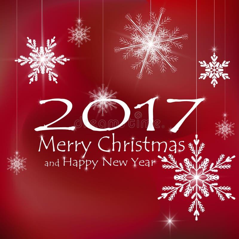 Buon Natale e decorazioni della carta del buon anno Ambiti di provenienza rossi illustrazione vettoriale