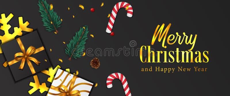 Buon Natale e felice anno nuovo Banner per poster natalizio coriandoli d'oro, foglie di abete di garland, bauble, pigino, scatola illustrazione di stock