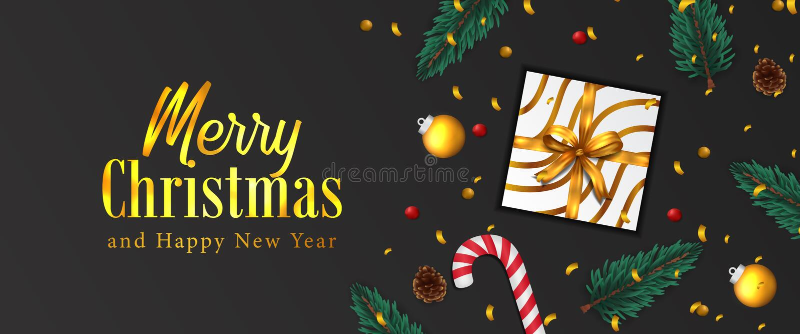 Buon Natale e felice anno nuovo Banner per poster natalizio coriandoli d'oro, foglie di abete di garland, bauble, pigino, scatola illustrazione vettoriale