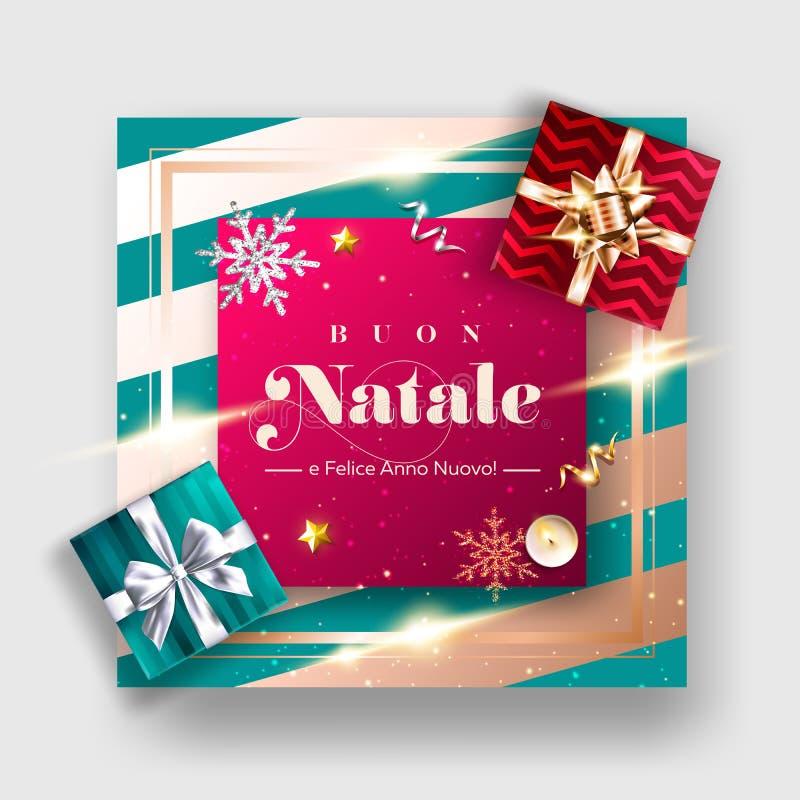 Buon Natale e Felice Anno Nuovo Vector Background. stock illustration