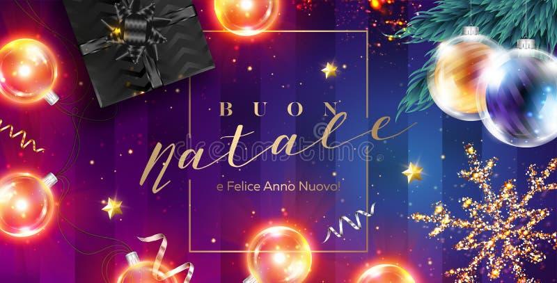 Buon Natale e Felice Anno Nuovo wektoru karta wesołych Świąt ilustracji