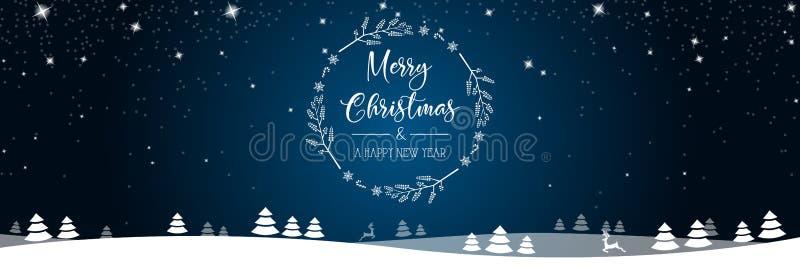 Buon Natale e fondo di vettore dell'insegna del nuovo anno illustrazione di stock
