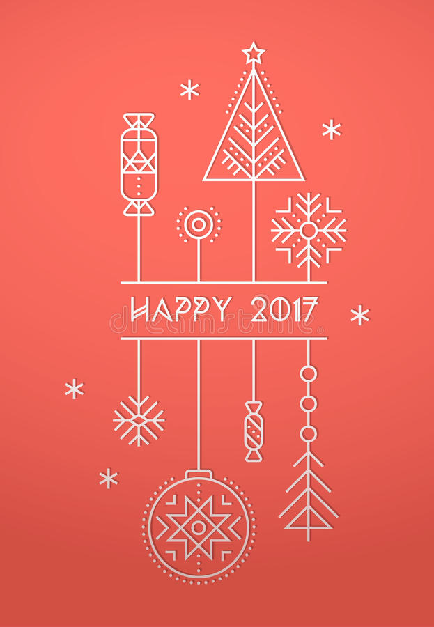 Buon Natale e modello della cartolina d'auguri del buon anno illustrazione vettoriale