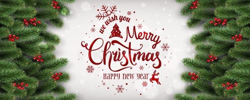 Buon Natale e nuovo anno tipografici su fondo bianco con i rami dell'abete, bacche, luci, fiocchi di neve illustrazione vettoriale