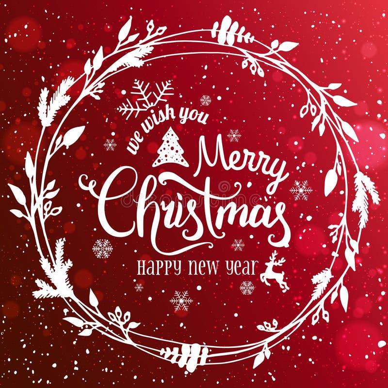 Buon Natale e nuovo anno tipografici sul Natale backgrMerry di festa rossa e nuovo anno tipografico su fondo rosso royalty illustrazione gratis