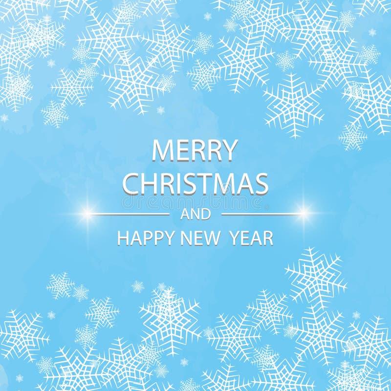 Buon Natale e nuovo anno 2018 tipografici sul fondo di feste con il paesaggio con i fiocchi di neve, luce di inverno illustrazione di stock