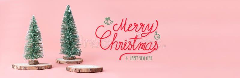 Buon Natale e parola del buon anno all'albero di Natale sulla fetta di legno del ceppo con la scatola attuale sul fondo rosa past immagini stock