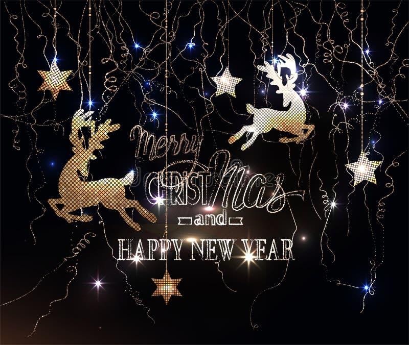Buon Natale e saluto del buon anno con le renne con la serpentina del modello e delle stelle e scintillare illustrazione vettoriale