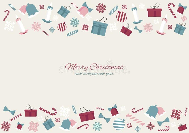 Buon Natale e un fondo colourful dell'insegna delle icone dell'elemento del buon anno Progettazione dell'illustrazione di vettore royalty illustrazione gratis
