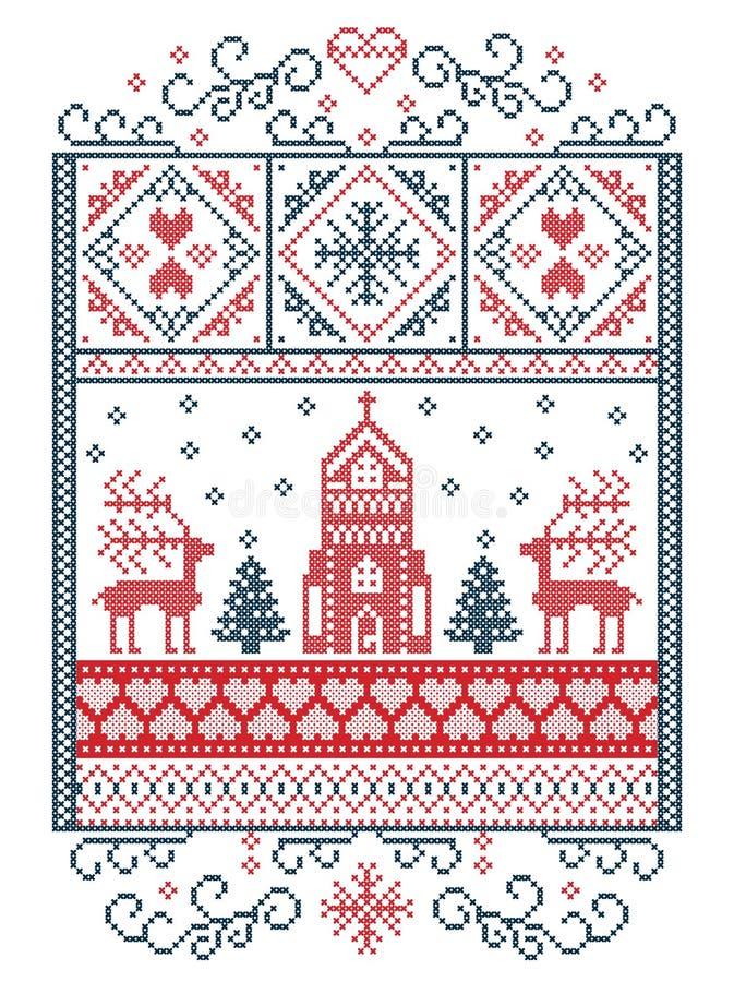 Buon Natale elegante scandinavo, modello nordico di inverno di stile compreso il fiocco di neve, cuore, renna, albero di Natale,  royalty illustrazione gratis